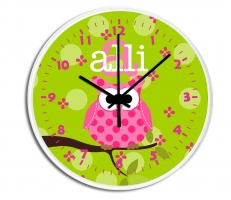 Owl Personalized Decorative Wall Clock - Boys or Girls Personalized Clock