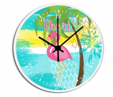 Pink Flamingo Personalized Decorative Wall Clock - Boys or Girls Personalized Clock