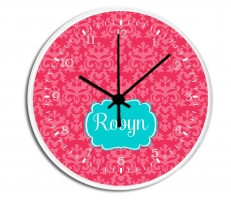 Damask Personalized Decorative Wall Clock - Boys or Girls Personalized Clock