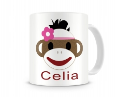 Sock Monkey Girl Personalized Kids Melamine Mug, Girls Sock Monkey Personalized Kids Cup
