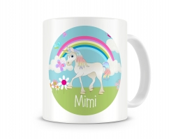 Unicorn Personalized Kids Melamine Mug, Girls Unicorn Personalized Kids Cup Circle Background