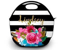 Watercolor Flowers & Feathers Personalized Lunch Tote