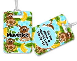 Monkey's & Bananas Kids Personalized Luggage and Bag Tag, Monogrammed Bag Tag