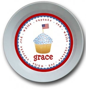 Red White and Blue Cupcake Personalized 4th of July Bowl