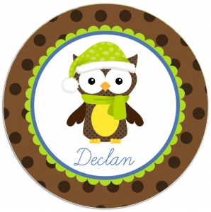 Snow Owl Personalized Christmas Plate