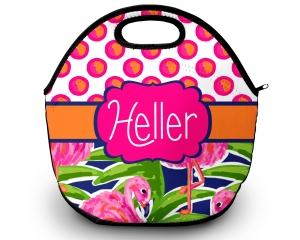 Fancy Flamingo Dots Personalized Insulated Lunch Tote