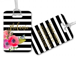 Watercolor Flower Stripes Personalized Luggage and Bag Tag, Monogrammed Bag Tag