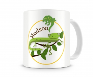 Cool Reptiles Personalized Kids White Background Mug