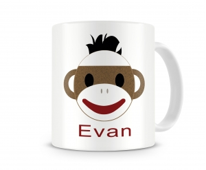 Sock Monkey Boy Personalized Kids Melamine Mug, Boys Sock Monkey Personalized Kids Cup