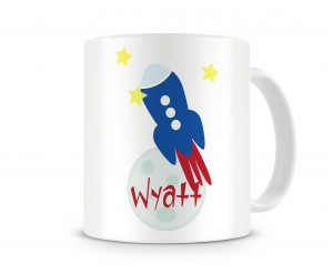To The Moon - Rocket Personalized Kids Melamine Cup, Rocket Ship Kids Personalized Mug