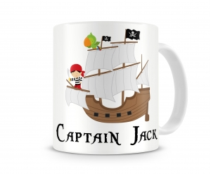 Pirate Ship Boys Personalized Kids Melamine Cup, Pirate Ship Kids Personalized Mug