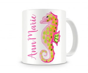 Seahorse Girls Personalized Kids Melamine Cup, Pirate Ship Kids Personalized Mug Right Hand Side