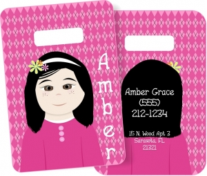Little Me Girls Monogrammed Bag Tag - Design Your Own Amber