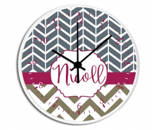 Herringbone Chevron Personalized Wall Clock