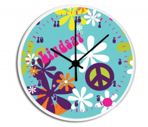 Hippie Chick Personalized Decorative Wall Clock - Boys or Girls Personalized Clock