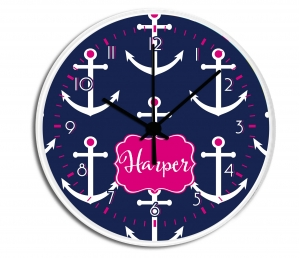 Preppy Anchors Personalized Decorative Wall Clock - Boys or Girls Personalized Clock
