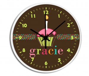 Cupcake Personalized Decorative Wall Clock - Boys or Girls Personalized Clock