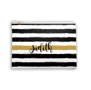 Black & Gold Stripe Personalized Makeup-Cosmetic Bags Bridesmaid Gift