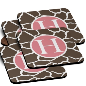 Giraffe Monogrammed Coaster Set of 4