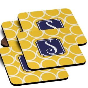 Hoops Monogrammed Coaster Set