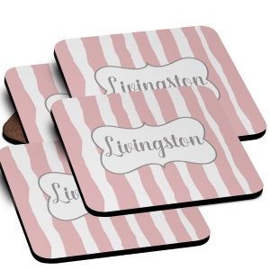 Bamboo Monogrammed Coaster Set of 4