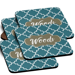 Quatrefoil Monogrammed Coaster Set of 4
