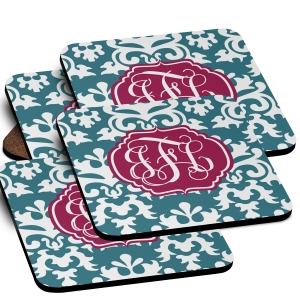 Damask Monogrammed Coaster Set of 4