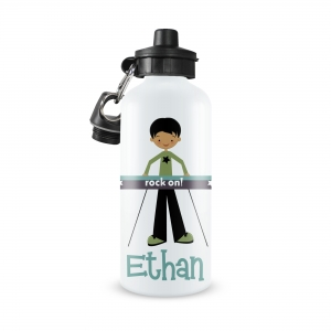 Rock Star Keyboard Boy Monogrammed Water Bottle