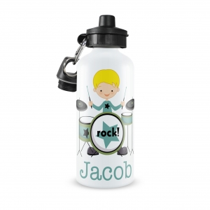 Rock Star Drummer Boy Monogrammed Water Bottle
