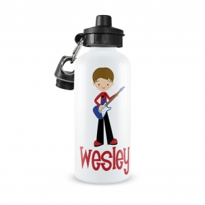 Rock Star Guitar Boy Monogrammed Water Bottle