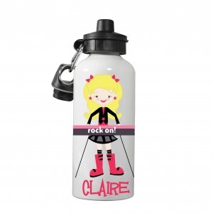 Rock Star Keyboard Girl Monogrammed Water Bottle