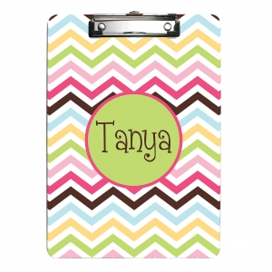 Cotton Candy Chevron Monogrammed Clipboard