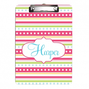 Dotty Stripes Monogrammed Clipboard