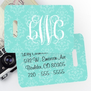 Bridal Damask Monogrammed Bag Tag