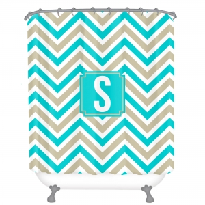 Personalized Shower Curtain Chevron Tan & Turquoise