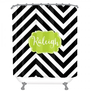 Personalized Shower Curtain Chevron Slide