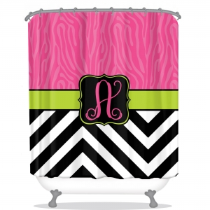 Personalized Shower Curtain Zebra Chevron Slide