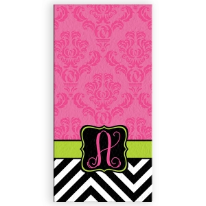 Damask Chevron Slide Personalized Bath/Beach Towel
