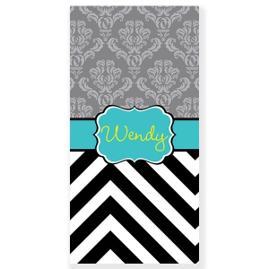 Damask Chevron Personalized  Beach or Bath Towel