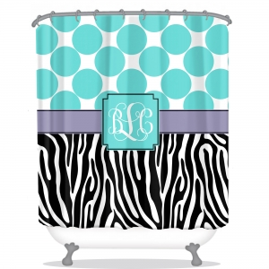 Personalized Shower Curtain Zebra Dot