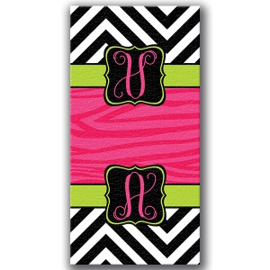 Zebra Chevron Personalized Bath/Beach Towel