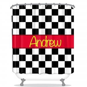 Checkered Personalized Shower Curtain