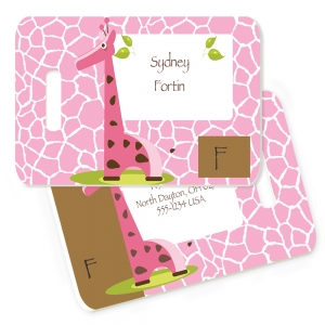 Giraffe Girl Monogrammed Bag Tag