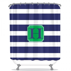 Rugby Stripe Personalized Shower Curtain