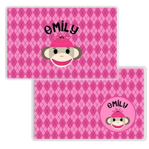 Sock Monkey Girl Personalized Placemat