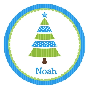 Blue Tree Personalized Christmas Plate