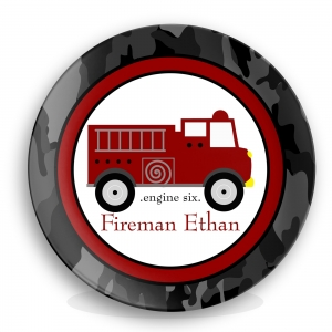 Fire Truck Personalized Plate