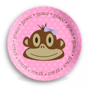 Monkey Face Girls Initial Personalized Plate