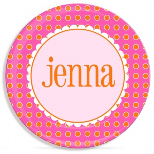 Orange Dots Girls Personalized Plate