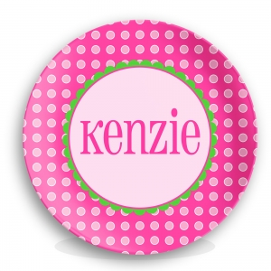 Pink Dots Girls Personalized Plate